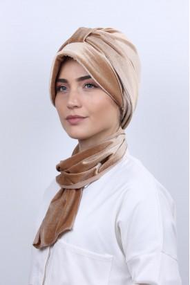 Kadife Şapka Bone Şal Karamel