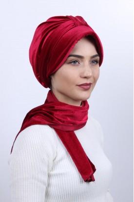 Kadife Şapka Bone Şal Kırmızı