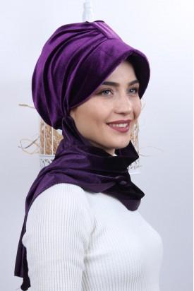 Kadife Şapka Bone Şal Mor