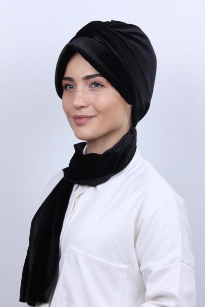 Kadife Şapka Bone Şal Siyah