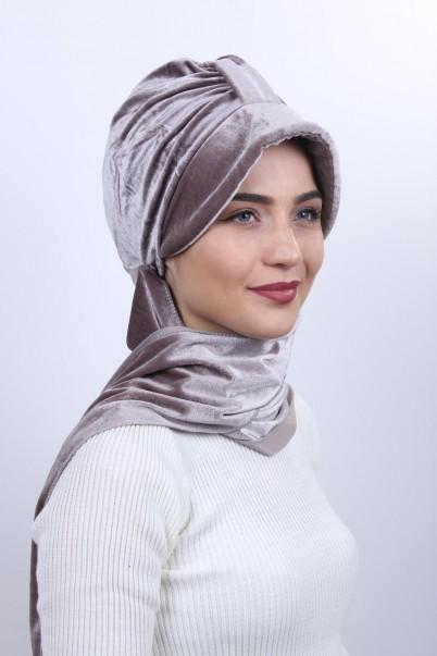 Kadife Şapka Bone Şal Vizon