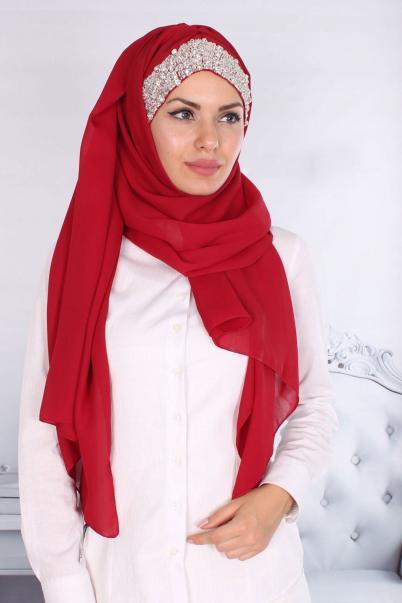 Tasarım Taşlı Bayan Şal Boneli Kırmızı