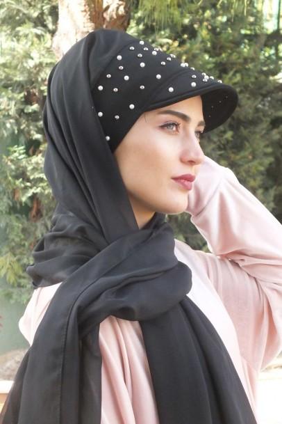Şapka Tasarım Taşlı Şal Siyah