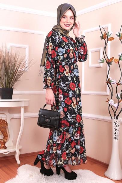 Şifon Çiçekli Elbise