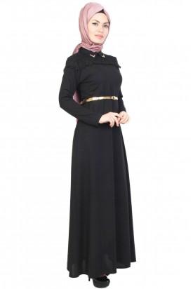 Elbise Siyah Omuz Detaylı