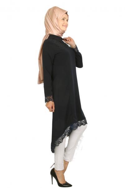 Tunik Dantelli Siyah İnci Taşlı