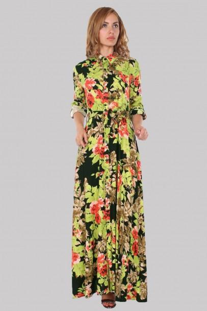 Bayan Uzun Elbise Çiçek Desenli