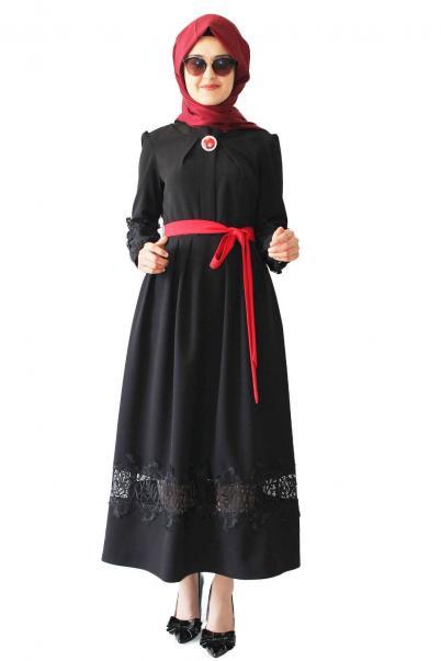 Güpürlü Elbise Siyah