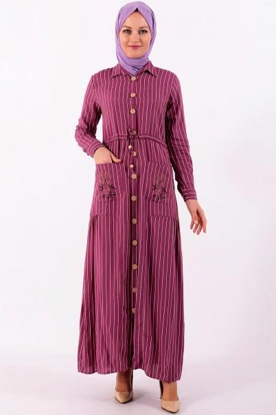 Boydan Uzun Tesettür Elbise Çizgili
