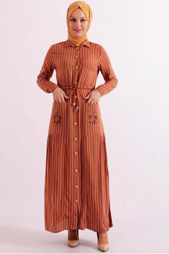 Boydan Çizgili Tesettür Elbise Uzun Kiremit