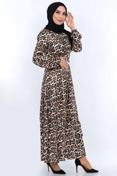 Leopar Tesettür Elbise Düğmeli