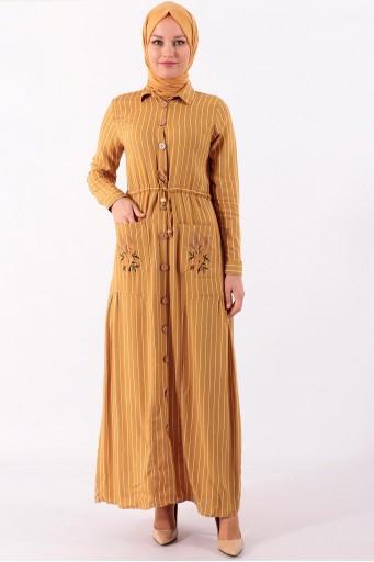 Tesettür Elbise Uzun Boydan Çizgili