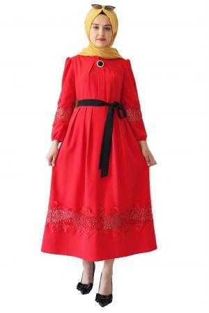 Dantelli Elbise Kırmızı