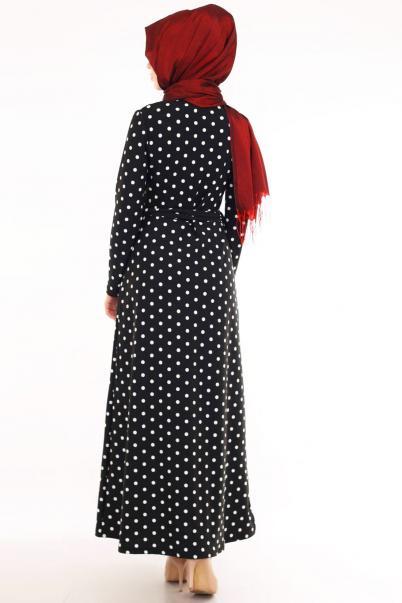 Elbise Siyah Büyük Beden Puantiyeli