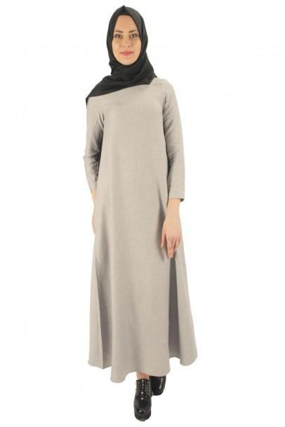 Gri uzun elbise