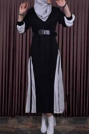 Kadın Elbise Balon Kol Şeritli Siyah Beyaz