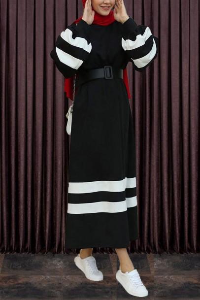 Kadın Spor Elbise Şeritli Siyah Beyaz