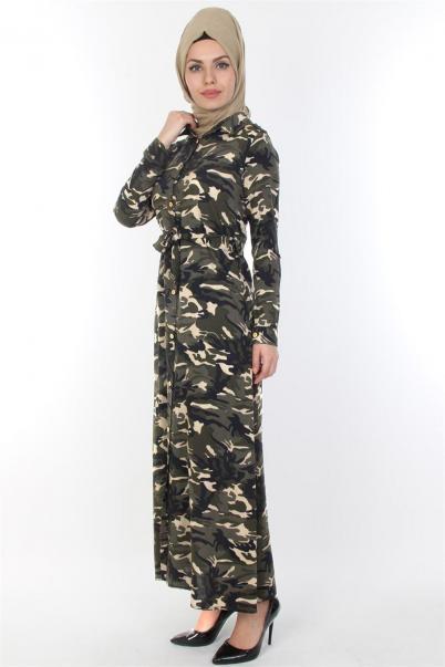 Kamuflaj Elbise Yandan Cepli Kuşakli
