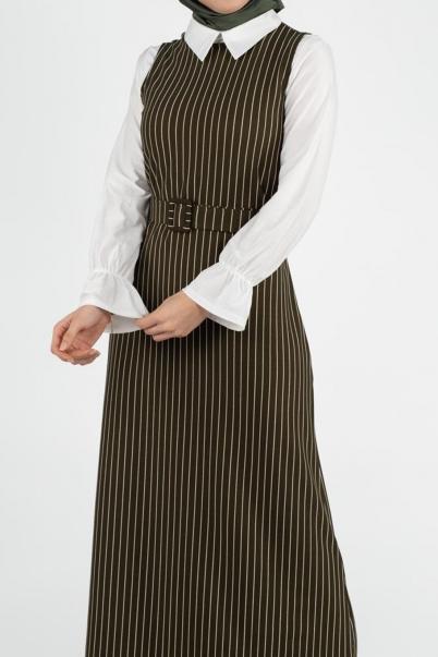 Haki İkili Takım Elbise ve İçlik Kombin