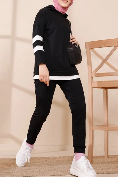 İkili Takım Tunik Pantolon Siyah Çizgili