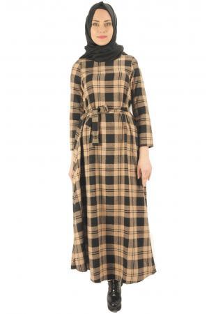 Kuşaklı Kaşmir Elbise 7004