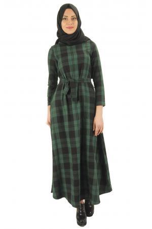 Kuşaklı kaşmir elbise 7005