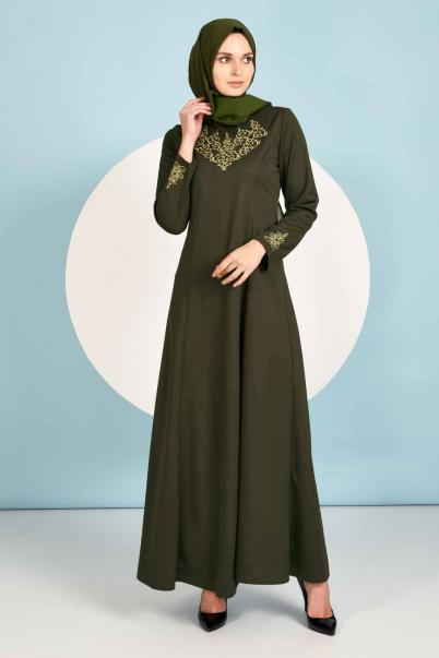 Uzun Haki Elbise Nakışlı