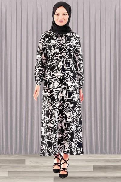 Kadın Elbise Siyah Palmiye Desenli