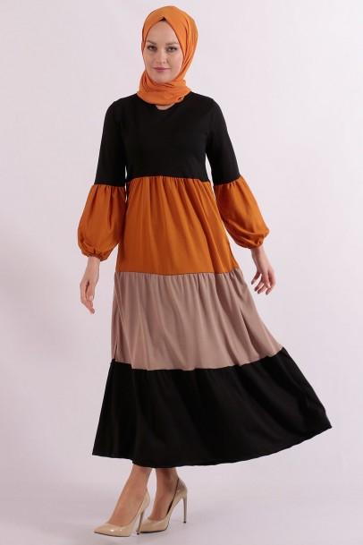 Robalı 3 Renk Elbise Siyah