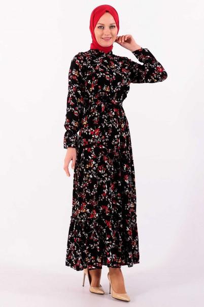 Robalı Elbise Balon Kol Çiçekli