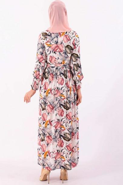 Uzun Robalı Elbise Çiçek Desenli