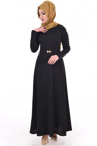 Siyah Elbise Düğmeli