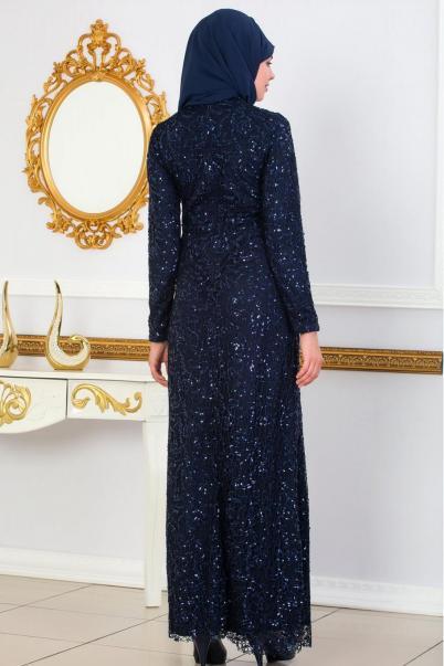 Abiye Elbise Pul Payet Elbiseler Lacivert
