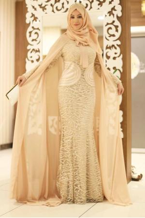 Abiye Elbise Taş Detaylı Pudra