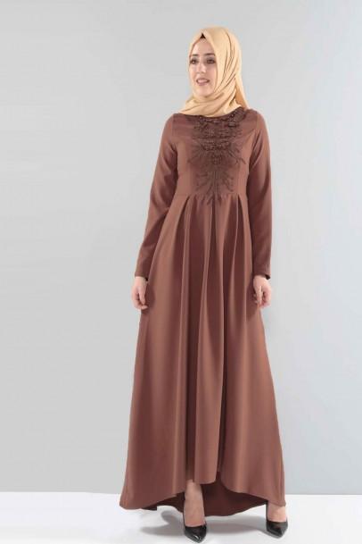 Açık Kahve Abiye Elbise Önü Boncuk Detaylı