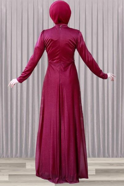 Bordo Tesettür Abiye Elbise İnci Detaylı