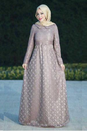 Dantel Abiye elbise vizon
