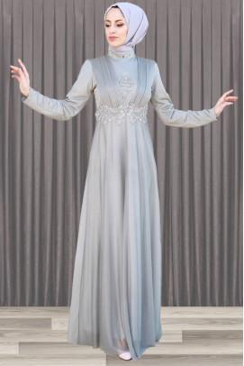 Gri Tesettür Abiye Elbise İnci Detaylı