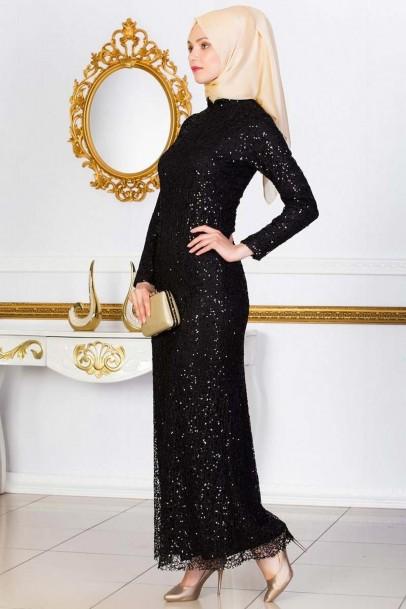 Siyah Abiye Elbise Pul Payet Elbiseler