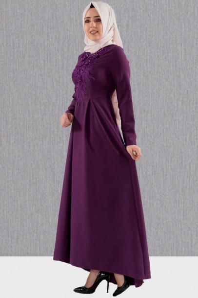 Mor Abiye Elbise Göğsü Güpürlü