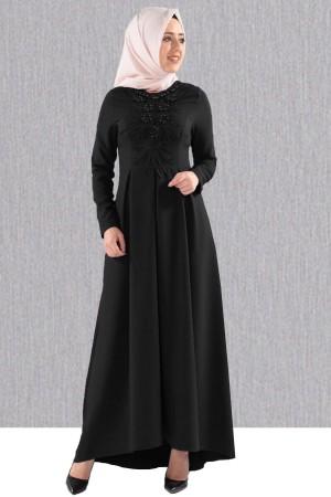 Siyah Abiye Elbise Göğsü Güpürlü