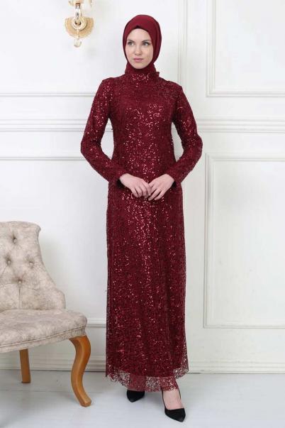 Bordo Abiye Elbise Pul Payet Elbiseler