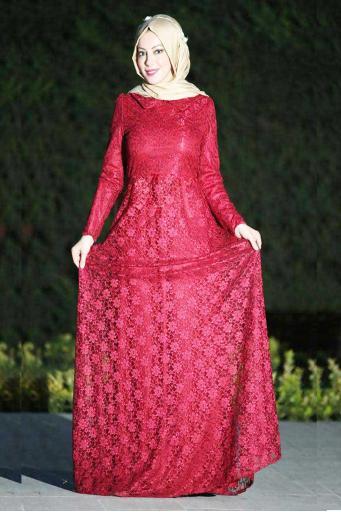 Dantel Abiye elbise Bordo