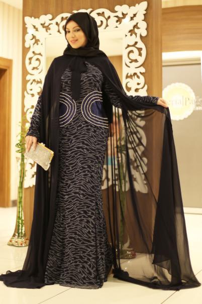 Abiye Elbise Taş Detaylı Lacivert