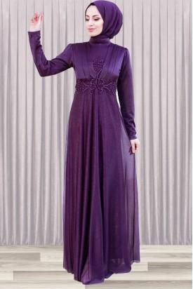 Tesettür Abiye Elbise İnci Detaylı Mor