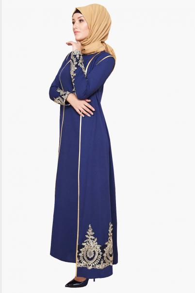 Lacivert  Abiye Elbise Yelekli Dantel Detaylı