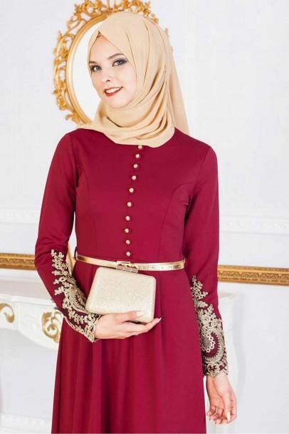 Bordo Varak Dantelli Tesettür Abiye Elbise