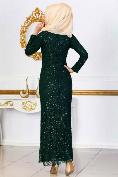 Zümrüt Abiye Elbise Pul Payet Elbiseler