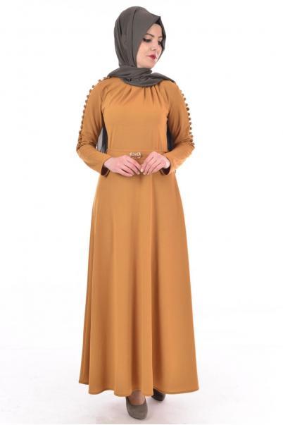 Elbise Düğmeli Hardal