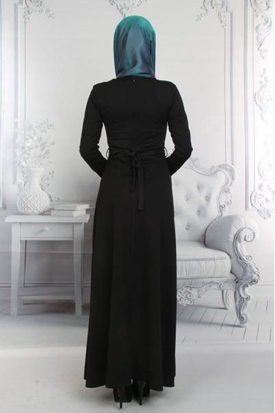 Elbise Gül Siyah Kemerli